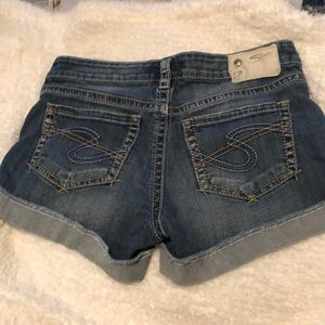 Silver denim shorts
